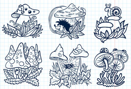 toxic mushroom: Cute doodle mushrooms autumn set Illustration