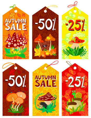 Cute mushrooms autumn tags set Stock Vector - 21060199