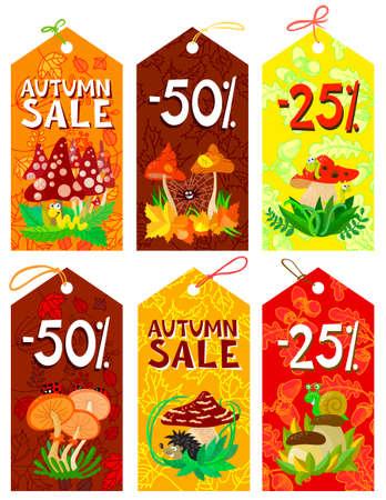 Cute mushrooms autumn tags set Stock Vector - 21060199