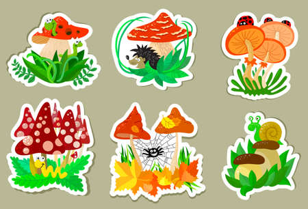 Cute mushrooms autumn stickers set Stock Vector - 21060202