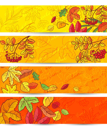 marple: Cute set with autumn leaves banners