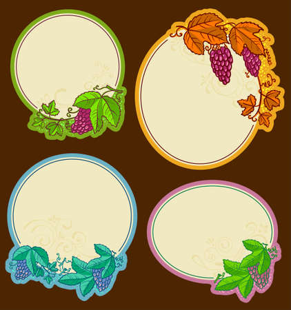 Set with round grape frames Vector