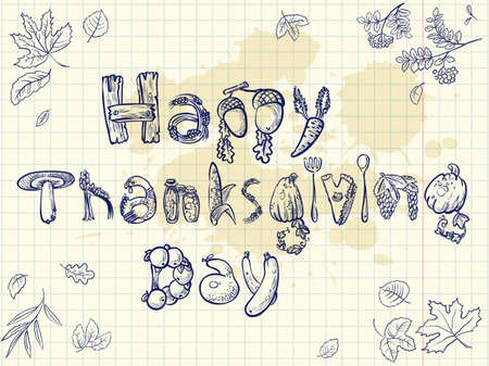 happy thanksgiving: Happy Thanksgiving Day doodle card