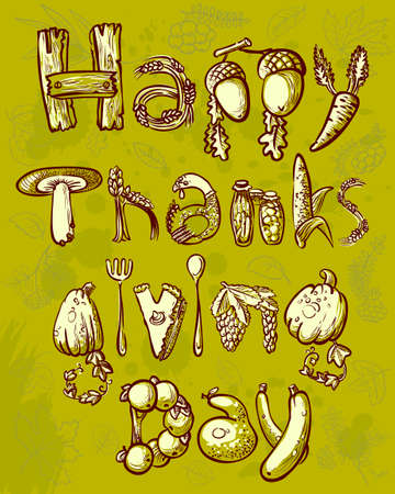 Happy Thanksgiving Day doodle card Stock Vector - 21796196