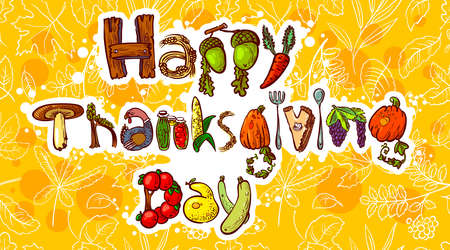 Happy Thanksgiving Day doodle card Vector