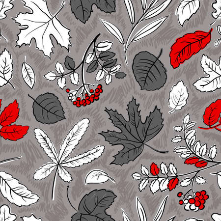 Fall season monochrome seamless pattern Vector