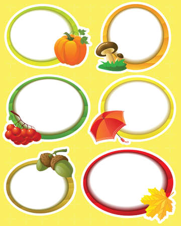 Round autumn stickers set Vector