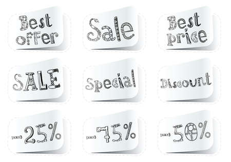 Shopping doodle white stickers set Vector