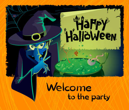 Halloween party invitation with terrible witch
