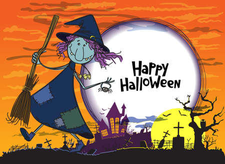 Halloween greeting card with witch Illustration