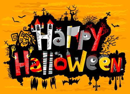 blood type: Feliz letras tarjeta linda de Halloween Vectores