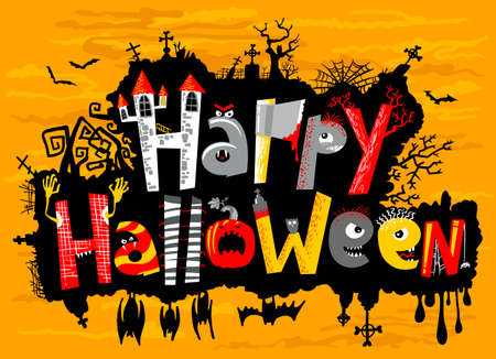 Happy Halloween cute card lettering Illustration