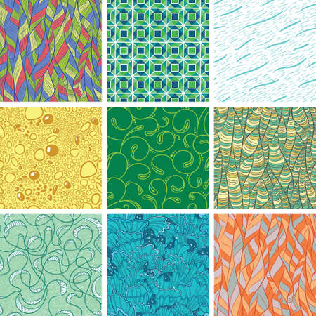 Set with abstract seamless pattern Vector