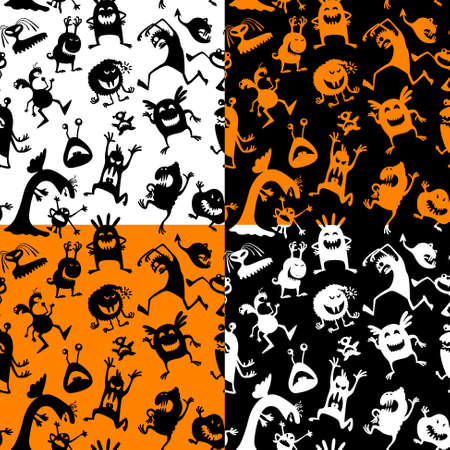 animated alien: Cute Halloween seamless patterns set