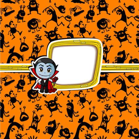 Halloween greeting card with vampire Illustration