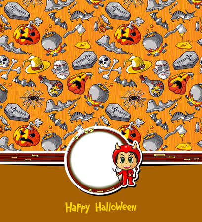 Halloween greeting card with devil sticker Vector