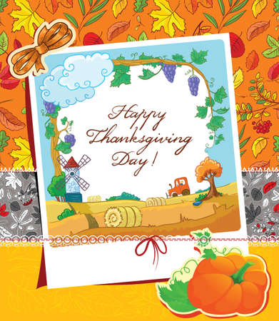 Thanksgiving Day scrapbooking  cute card  Vector