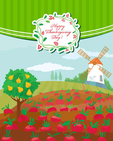 Thanksgiving Day cute greeting card Vector