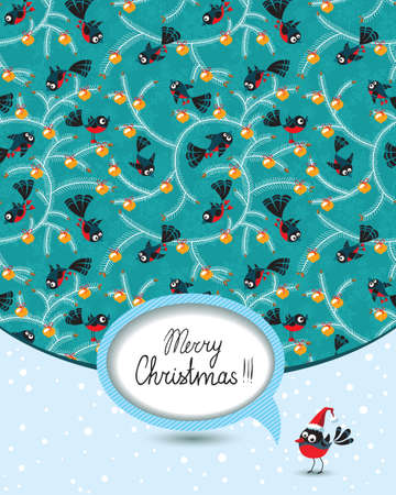 Cute Christmas card with birds Vector