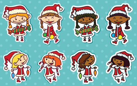 Cute Christmas stikers set with girls Stock Vector - 22495778