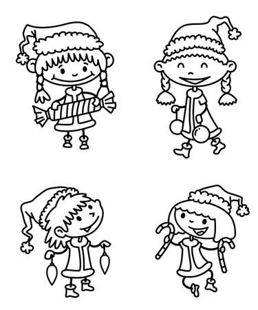 Cute line set with Christmas girls Vector