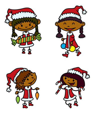 Cute Christmas girls set Vector