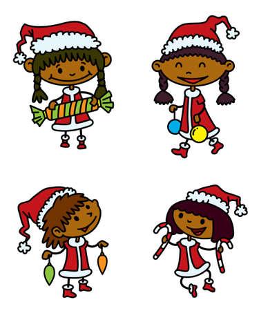 Cute Christmas girls set Stock Vector - 22495782