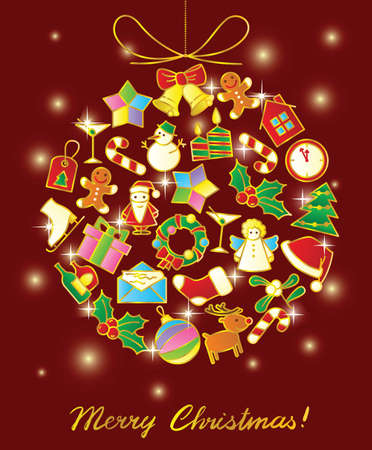 Christmas background with decoration ball Vector