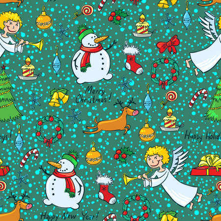 Christmas cute seamless pattern with angel Vector