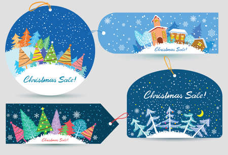 Cute Christmas labels set Vector