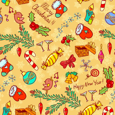 Christmas doodle seamless background Vector