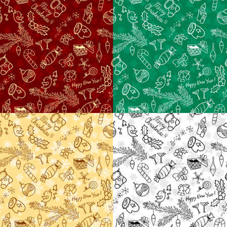 Christmas doodle seamless background set Vector