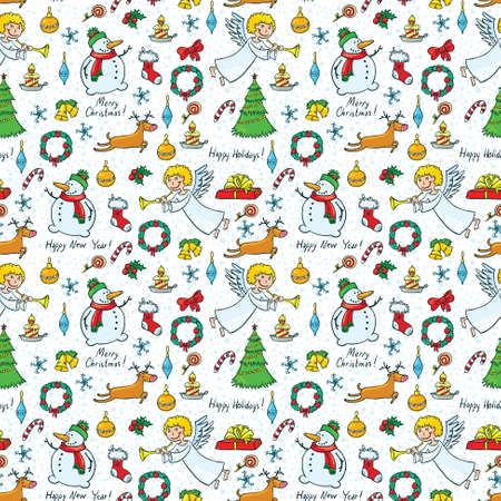 Christmas cute seamless pattern with angel and deer Vector