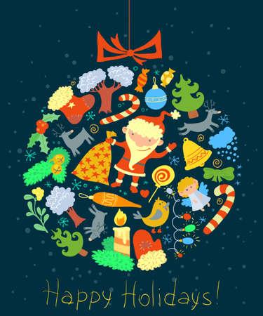 Christmas card with decoration ball shape Vector