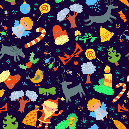 Seamless pattern with Christmas stuff Vector