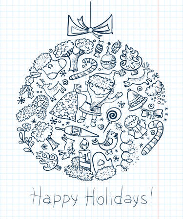 Christmas doodle card with decoration ball silhouette Vector