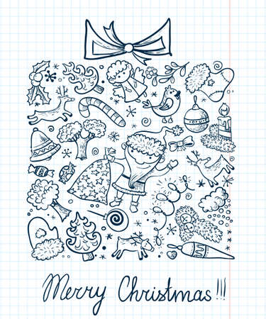 Winter holidays card with gift doodle silhouette Vector