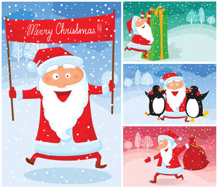 Christmas cards with cute Santa Claus Stock Vector - 23079868
