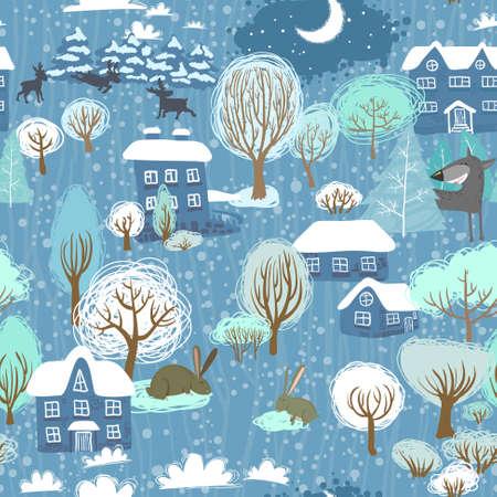 Winter landscape seamless pattern Ilustracja