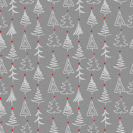 New year seamless background with tree Ilustracja