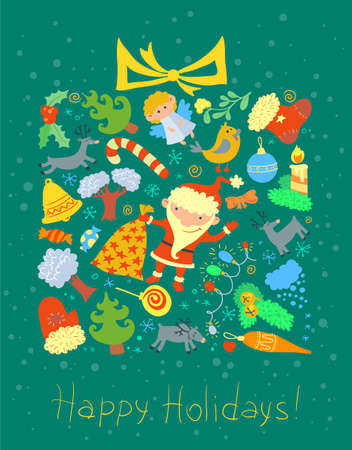 Winter holidays card with gift shape Stock Vector - 23079870