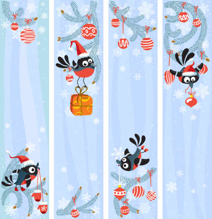 Cute Christmas banners set with birds Vector