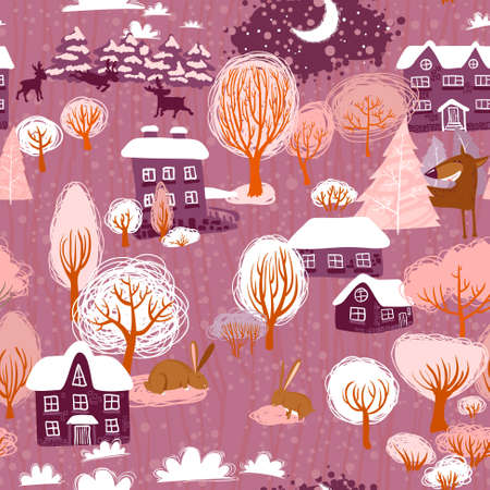 Winter landscape seamless pattern Vector