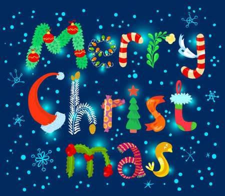 christmas cute: Cute Merry Christmas lettering card