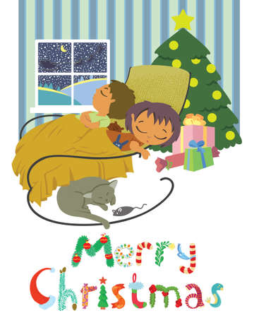 Cute Christmas card with sleeping children