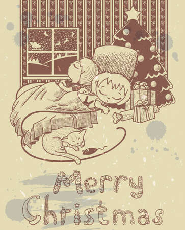 Christmas vintage card with sleeping children at night Vector