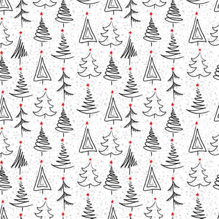 arbol: Año nuevo fondo sin fisuras con el árbol de navidad Vectores