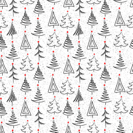 christmas tree set: New year seamless background with christmas tree