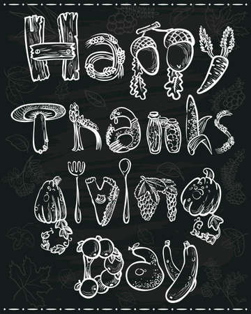 Hand drawn Thanksgiving lettering poster on chalkboard Vector
