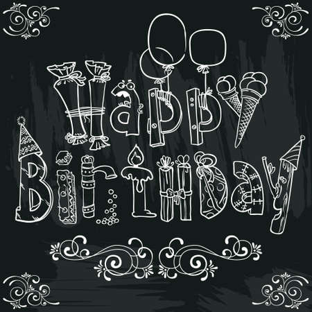 compleanno: Disegnata a mano Compleanno manifesto scritte sulla lavagna